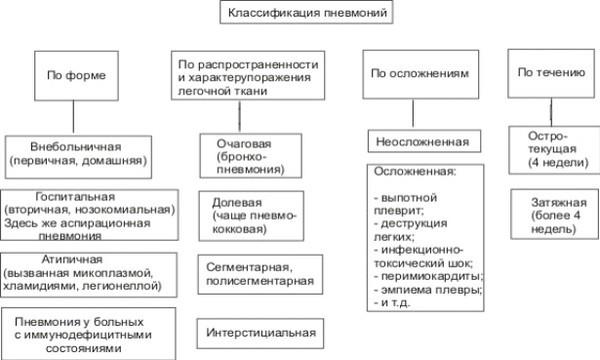блок схема основных видов пневмонии